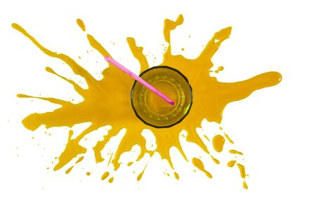 Empty glass cup on a stain of orange juice and white background Banco de Imagens