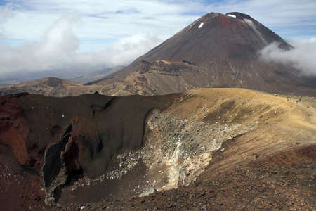 doom: Red Crater, Mount Ngauruhoe, Tongariro Crossing. Mount Ngauruhoe is also know as Mount Orodruin or Doom in The Lord of the Rings. Stock Photo