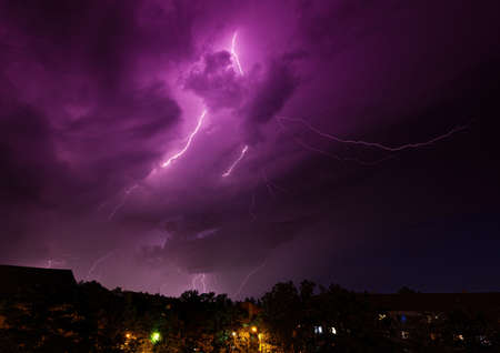 Thunderstorm at evening above the city of Erlangen, Bavaria, Germany during summer
