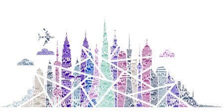artwork: Flying Over City Artwork - Blue Theme Stock Photo