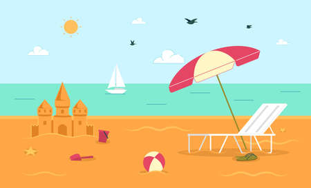 Summer Vacation on Tropical Resort, Recreation and Leisure on Seacoast, Beach Entertainments Flat Vector Background with Lounge Chair Under Umbrella, Sand Castle and Ball, Yacht in Sea Illustration