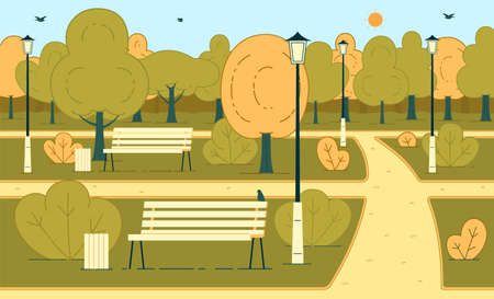 Autumn Season Sunny Day in City Park or Square Flat Vector Background with Flying Birds, Pathways, Green, Brown and Yellow Leaves on Trees, Trash Cans and Lampposts near Wooden Benches Illustration