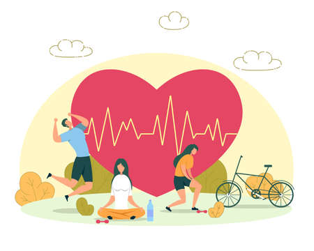 Outdoor Activity for Heart Health, Healthy Lifestyle and Fitness Training Flat Vector Concept. Active Man Ans Women Riding Bicycle, Running, Meditating or Practicing Yoga in City Park Illustration Ilustração