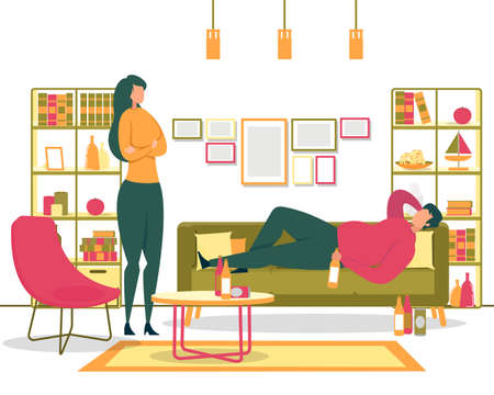 Alcohol Addiction, Unhealthy Lifestyle and Laziness, Depression Because or Unemployment Flat Vector Concept. Wife Talking to Drunk, Lazy Husband Who Lying on Sofa, Drinking Beer at Home Illustration Ilustração