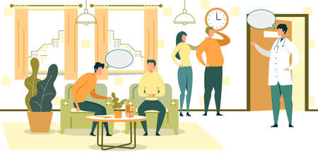 Cartoon People Wait in Chairs in Hospital Hall Vector Illustration. Male Doctor in Doorway. Clinic Lobby Interior. Medical Specialist Examination. Professional Medicine Healthcare. Illustration