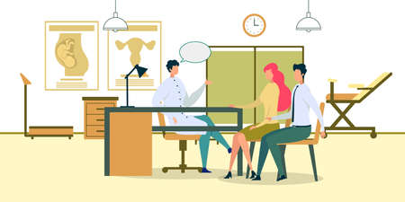 Reproductive Medicine. Cartoon Doctor Consulting Man Woman in Hospital Office Vector Illustration. Fertility Problem, Infertility Treatment. Pregnancy Help. Childbirth Consultation