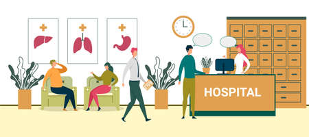 Hospital Building Hallway. Cartoon People Wait Doctor Appointment in Chairs Vector Illustration. Male Patient Talk to Female Receptionist in Clinic Lobby. Professional Medicine Healthcare Ilustracja