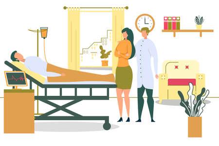 Mujer de dibujos animados visita al hombre después de la ilustración de Vector de cirugía. Paciente enfermo acostado en la cama de un hospital. Infusión intravenosa con gotero. Médico Consultor Familiar. Tratamiento médico Cuidado de la salud