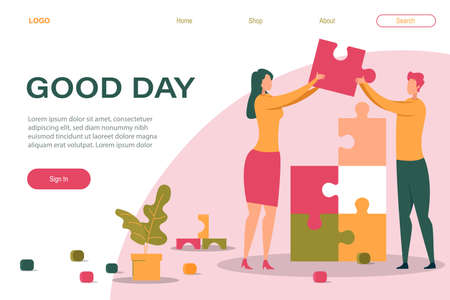 Good Day Banner. Cartoon Man Woman Holding Puzzle Piece in Hand Vector Illustration. Couple Relationship Partnership Work. People Problem Solution Together. Jigsaw Element Connection Concept