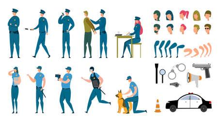 Stylized Policeman Animated Characters Flat Set Ilustração