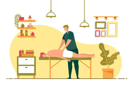 Therapeutic Back Massage in Spa Vector Banner.
