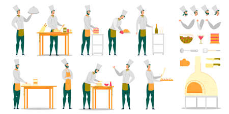 Chef Cook Male Character at Work Creation Set