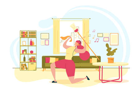Happy Woman Cleaning House Flat Vector Concept Ilustracja