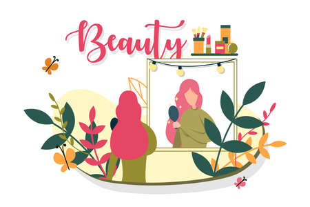 Young Girl take Care her Beauty, Illustration.