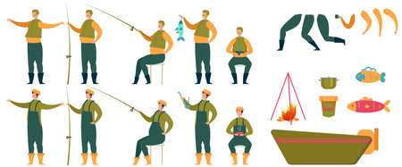 Animated Fisherman Character and Fishing Tools Set Illustration