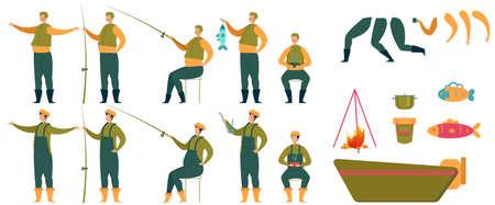 Animated Fisherman Character and Fishing Tools Set Illustration
