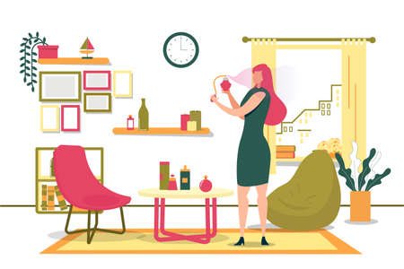 Girl Getting Ready for Meeting at Home, Cartoon. Illustration