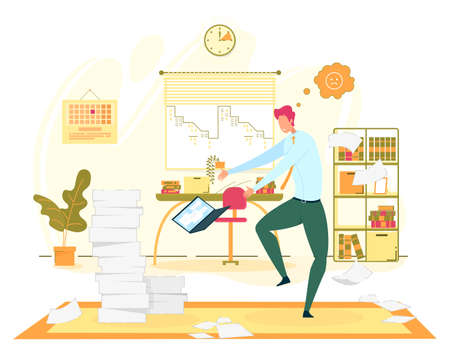 Big Troubles at Office Work Flat Vector Concept