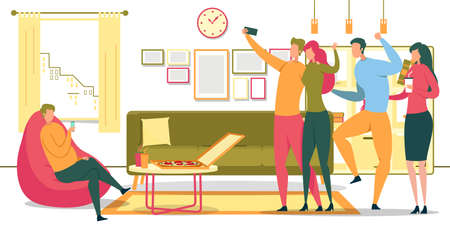 Sedentary Lifestyle, Unhealthy Nutrition, Habits Bad for Health Flat Vector Concept, Man Sitting in Chair at Home, Using Cellphone, Eating Fast Food, Drinking Alcohol Drinks with Friends Illustration