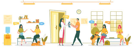 Domestic Animals Vaccination and Health Condition Examination in Veterinary Clinic. People Cartoon Characters - Doctor and Vet Hospital Visitors in Waiting Hall Interior. Flat Vector illustration.