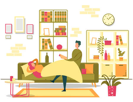 Happy Young Family Evening Rest at Home. Man Reading Book to Loving Woman. Husband Sitting and Woman Lying under Blanket on Sofa. Cozy Living Room. Romantic Weekend. Vector Cartoon Flat Illustration
