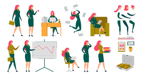Businesswoman Executive Manager Secretary Character Set. Woman Working on PC in Office, Reporting, Resting with Newspaper, Going to Work. Different Emotions, Body Parts DIY Kit. Vector Illustration Ilustração