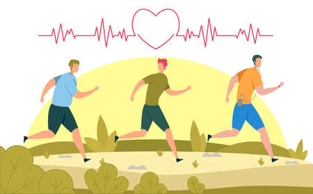 Healthy Lifestyle, Physical Activity, Weight Loss or Fitness Training, Runners Racing Competition Flat Vector Concept. Sportsmen Running Marathon, Men Jogging in Park for Heart Health Illustration Ilustração