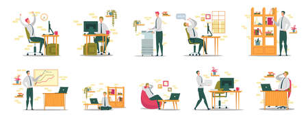 Businessman or Company Employees Daily Job Activity Set with Man Cartoon Character Typing on Computer, Using Stationery and Office Equipment, Working with Documents. Flat Vector Illustration Isolated. Illustration