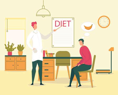 Gesunde Ernährung und Diät, Diät zur Gewichtsreduktion und Diabetes-Behandlung, vegetarische Ernährung flaches Vektorkonzept. Arzt erklärt männlichen Patienten die Regeln und Prinzipien der gesunden Ernährung Vektorgrafik