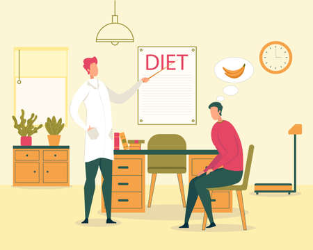 Healthy Food and Dieting, Dieting for Weight Loss and Diabetes Treatment, Vegetarian Nutrition Flat Vector Concept. Doctor Explaining to Male Patient Healthy Eating Rules and Principles Illustration