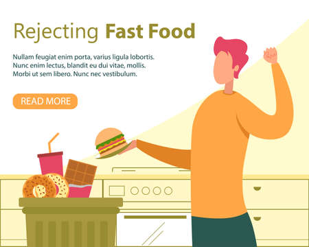 Rejecting Fast Food, Healthy Nutrition for Weight Loss Flat Vector Banner, Poster Template with Happy Man Character Refusing Eat Harmful, High-Calorie Food, Putting Hamburger in Trash Can Illustration