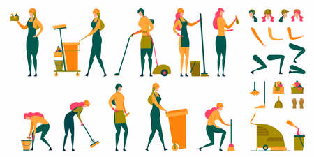 Housewife, Maid Woman, Cleaning Lady Character Flat Set. Cartoon Animation Scene with Various House Activities, Female Body Parts and Accessories. Domestic Housework. Vector Illustration Ilustracja
