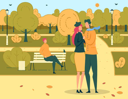 Two Loving People on Romantic Dating in Urban Park Cartoon. Man and Woman Standing and Hugging. Friends Meeting and Romance. Female and Male Lovers Rest on Nature. Rendezvous. Vector Flat Illustration