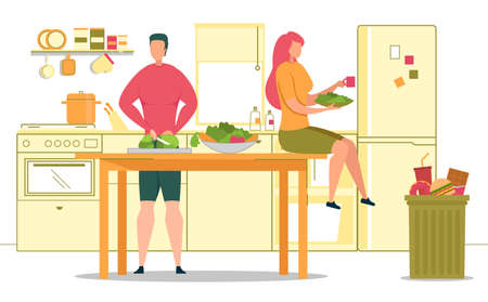 Healthy Lifestyle and Vegetarian Nutrition, Vegetables in Ration, Reusing from Unhealthy Food Flat Vector Concept. Couple Cooking Salad at Home Kitchen, Throwing Fast Food in Trash Can Illustration