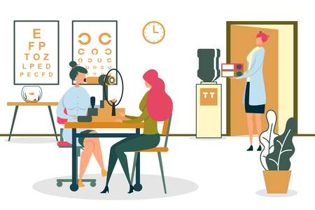 Woman Ophthalmologist Checking Patients Eyesight with Eye Test Machine Flat Cartoon Vector Illustration. Oculist Doing Diagnostics or Vision Correction. Posters with Letters. Nurse with Folders. Illustration