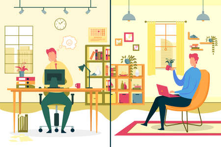 Boring Office Routine and Freelance Distant Work Comparison Flat Vector Concept with Bored and Sad Company Employee, Worker Sitting at Desk in Office, Happy Freelancer Working at Home Illustration Ilustrace