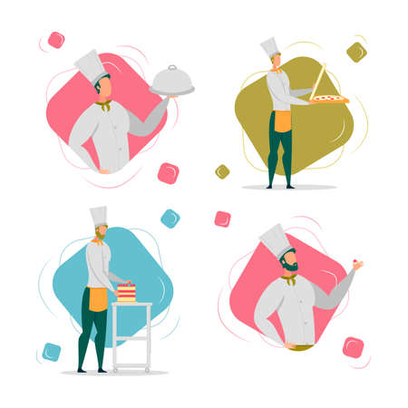 Cook Chef, Pizza Maker and Confectioner in White Robe and Uniform Cap Man Cartoon Characters Set. Culinary and Pastry Cookery, Professional Male Occupation. FLat Vector Illustration Isolated.