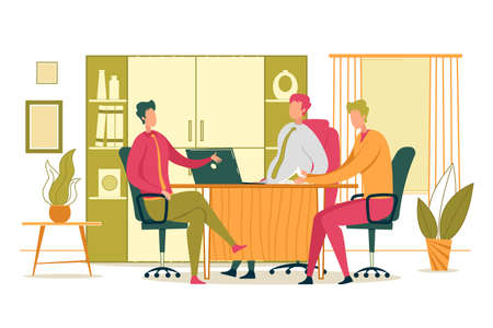 Business Corporate Conference or Staff Meeting in Head Office. Businessmen Cartoon Characters Sitting around Table and Lively Discuss in Work Tasks and Company Goals. Flat Vector Illustration.