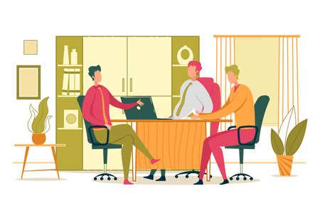 Conférence d'entreprise ou réunion du personnel au siège social. Personnages de dessins animés d'hommes d'affaires assis autour d'une table et discutant de manière animée des tâches de travail et des objectifs de l'entreprise. Illustration vectorielle plane.