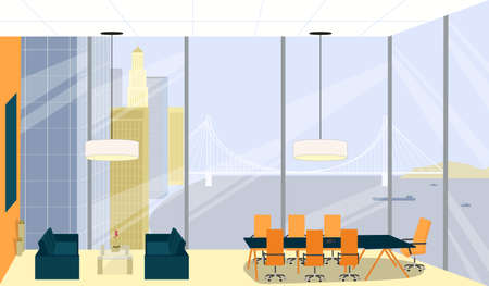Boss Meeting, Room Interior with High Ceiling. Office for Important Negotiations with Significant Clients, Directors Board Company. Large Window Overlook Ocean, Large Bridge and High City Buildings. Illustration