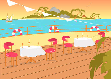Restaurant Terrace or Balcony on Seashore with Beautiful Sunny Day Sea View. Tropical Ocean Resort Cafeteria or Dining Open Place with Furniture Background. Flat Cartoon Vector Illustration. Ilustração Vetorial