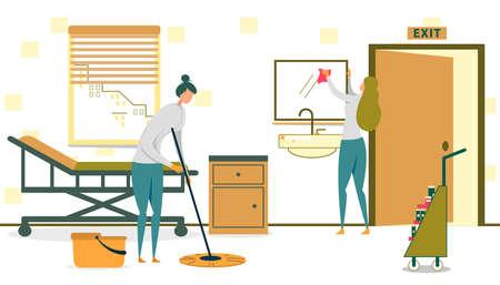 Deux femmes travaillant pour le service de nettoyage ranger le bureau ou la chambre à l'hôpital Flat Cartoon Vector Illustration. Fille nettoyant le sol avec une vadrouille, un travailleur essuyant la poussière ou la saleté sur le miroir. Détergents.