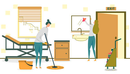 Two Women Working for Cleaning Service Tidying Up Office or Room in Hospital Flat Cartoon Vector Illustration. Girl Cleaning Floor with Mop, Worker Wiping Dust or Dirt on Mirror. Detergents.