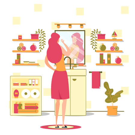 Women Hygiene Evening or Morning Routine, Skincare Cosmetics Use, Makeup Cleaning Flat Vector Concept. Young Lady Applying Face, Skin Care Cream, Lotion or Mask in Font of Bathroom Mirror Illustration