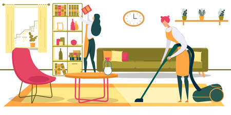 Women Characters Doing Household Chores in Living Room Flat Cartoon Vector Illustration. Cleaning Service or Housewife. Girl Vacuuming Carpet, Worker Putting Book on Shelf. Room Interior.