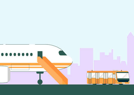 White Airplane and Bus on Runway Vector illustration. Staircase to Plane Open Door. Passenger Transport to Airport. Airfield Landing Area. Aircraft Transportation. Aviation Business  イラスト・ベクター素材