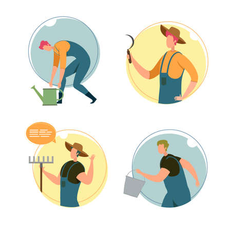 Set, Happy Characters Farm Workers, Illustration. Man in Overalls Bent over Watering Can, Guy in Hat Hold Sickle in Hands, Agricultural Worker with Rake Waves Hand, Character is Running with Bucket.