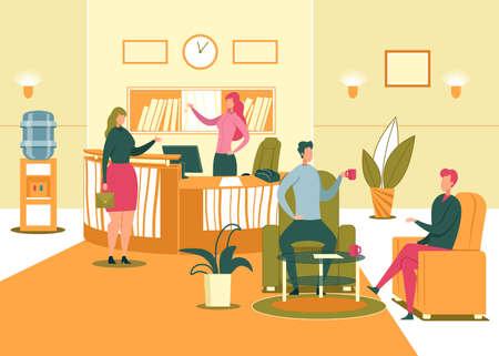 Salle de réception de l'entreprise et intérieur de la salle d'attente avec bureau d'enregistrement et visiteurs. Bureau Vie quotidienne - Accueil et enregistrement des visiteurs, réunion des employés de l'entreprise. Illustration vectorielle de dessin animé plat.