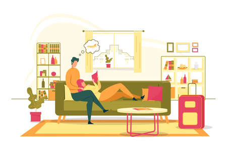 Planing Family Summer Vacation Flat Vector Concept with Young Couple Sitting Together on Sofa in Home Living Room, Reading Promo Booklet, Brochure Choosing Travel Destination or Resort Illustration