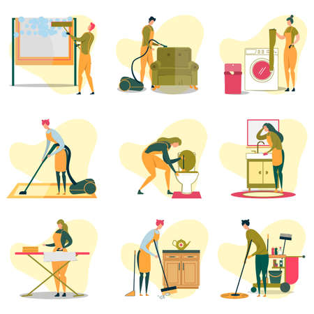 Cleaning Service Doing Different Tasks Flat Cartoon Vector Illustration. Man Cleaning Window, Vacuuming Sofa, Women Washing Clothes, Cleaning Toilet with Plunger, Wiping Sink, Ironing and Sweeping.